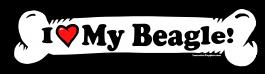 I love my Beagle Dog Bone Sticker Free Shipping
