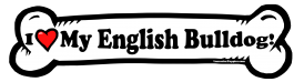 I love my English Bulldog Dog Bone Sticker Free Shipping