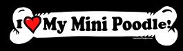 I love my Mini Poodle Dog Bone Sticker Free Shipping